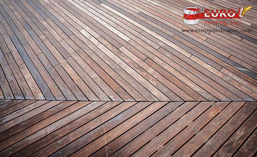 Stained deck with transparent stain.